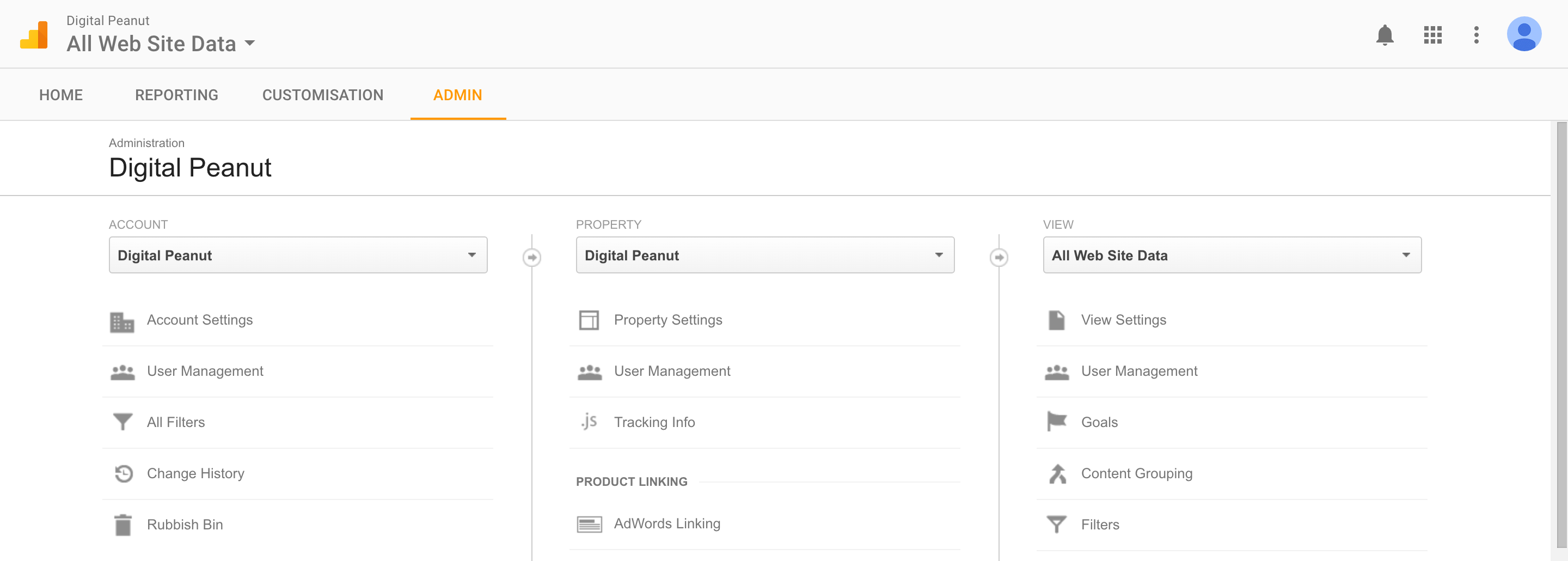 google analytics admin screen
