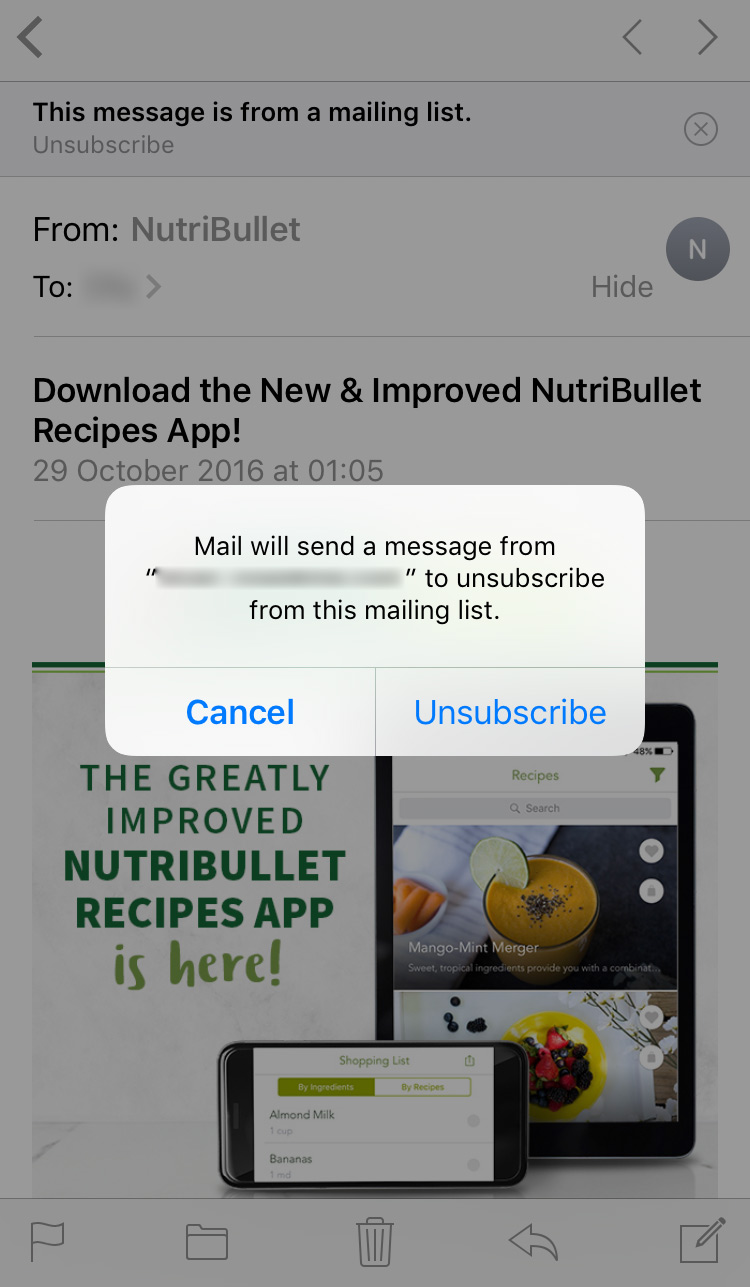 ios unsubscribe feature